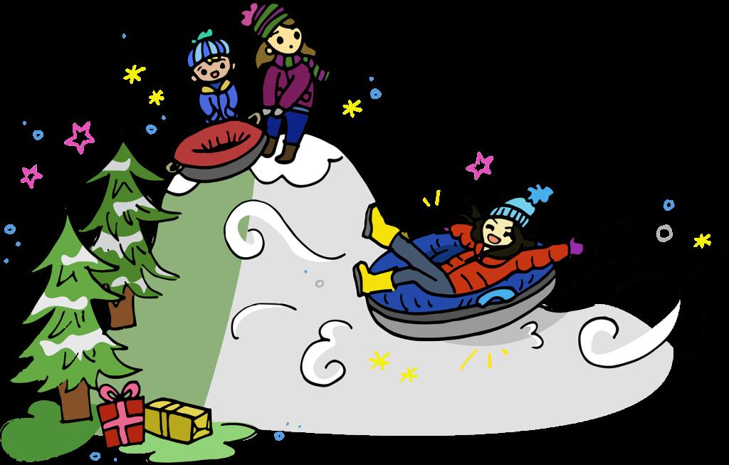 Snow Tubing Illustration